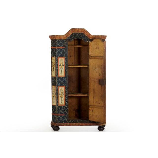 19th Century Antique Painted Armoire Cabinet Circa Late 19th Century For Sale - Image 4 of 13