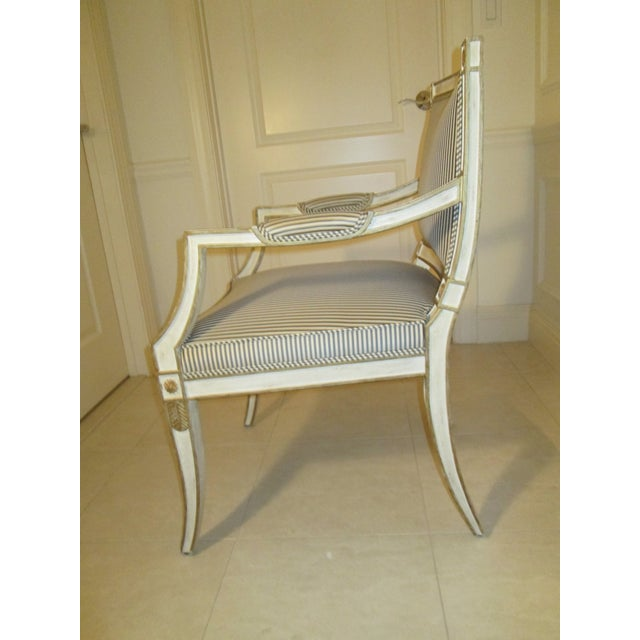 Neoclassical Armchair in Striped Silk For Sale In Boston - Image 6 of 11