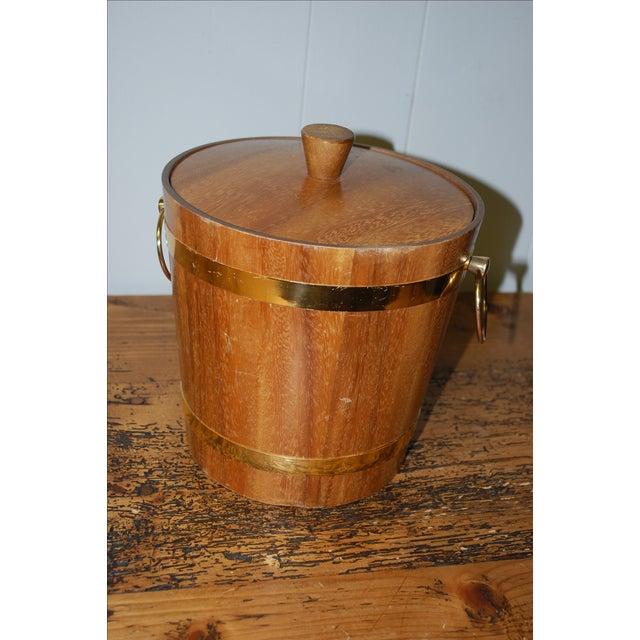 Vintage 1950s Aluminum Lined Teak Ice Bucket For Sale - Image 4 of 5