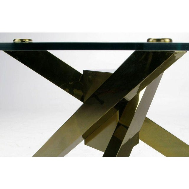 Contemporary 1970s Geometric Brass Tripodal Coffee Table For Sale - Image 3 of 4