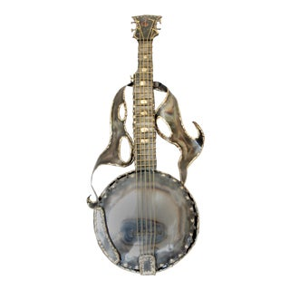 Modern Original Hand Forged Brass Banjo Wall Sculpture For Sale
