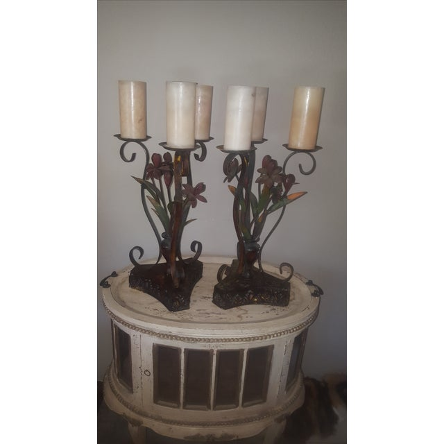 Large Metal Candle Holders - A Pair - Image 3 of 7