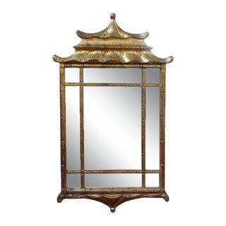 Italian Giltwood Chinese Chippendale or Chinoiserie Style Pagoda Mirror For Sale