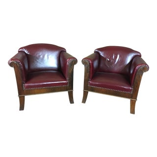 Early 20th Century Art Deco Oxblood Leather & Walnut Club Chairs - a Pair For Sale