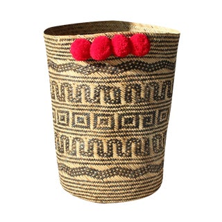 Borneo Tribal Drum Basket - With Red Hot Pom-Poms For Sale