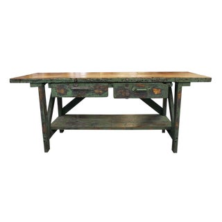 Mid 20th Century Vintage Large Industrial Green Painted Work Table For Sale