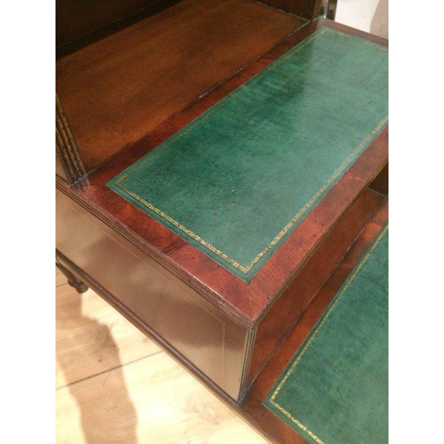 Classic and elegant library steps or side table having simple lines, mahogany structure and rich hunter green tooled...