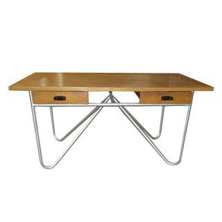 Mid Century Limed Ash Bookcasetury Desk With Tubular Base Design For Sale
