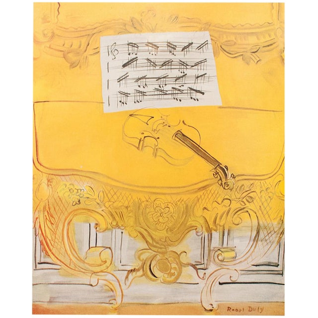"1954 Raoul Dufy ""Yellow Console With a Violin"" First Edition Lithograph For Sale"