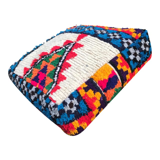 Abstract Vintage Moroccan Rug Floor Cushion Pillow - Image 1 of 5