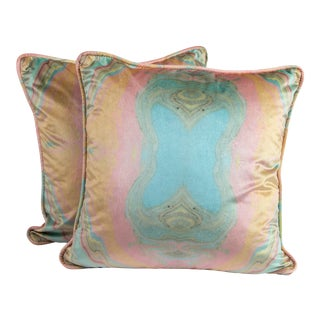 """20"""" Custom Pink and Blue Marbled Velvet Pillows, Pair For Sale"""