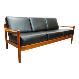 Vintage Mid Century Danish Modern Teak and Reupholstered Black Leatherette 3 Seat Sofa For Sale