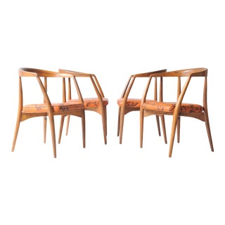 Lawrence Peabody Walnut Chairs - Set of 4 For Sale