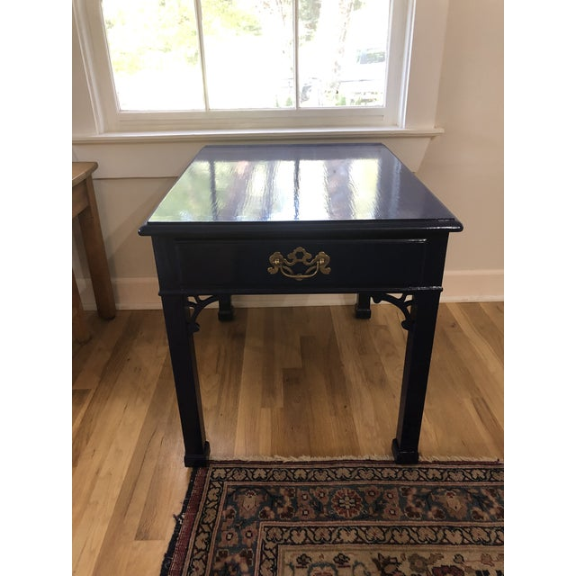 Classic Henredon Chippendale from the '60s or '70s redone in a navy lacquer finish. The table was structurally sound but...