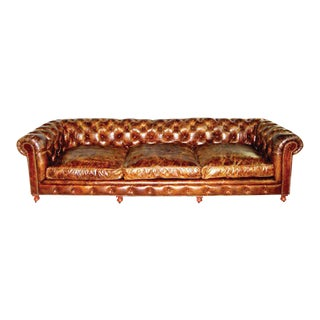 Pair of Monumental Distressed Leather Chesterfield Sofas