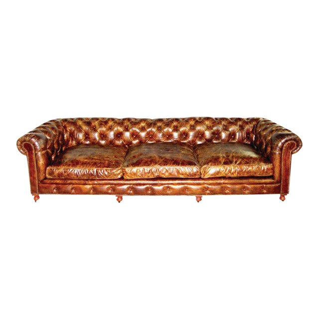 Pair of Monumental Distressed Leather Chesterfield Sofas For Sale