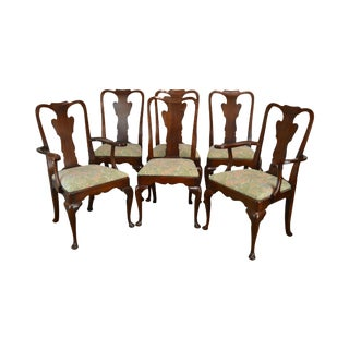 Statton Oldtowne Solid Cherry Set 6 Queen Anne Dining Chairs For Sale