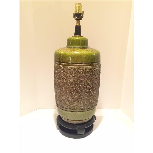 Vintage Green Glazed Lamp - Image 2 of 6