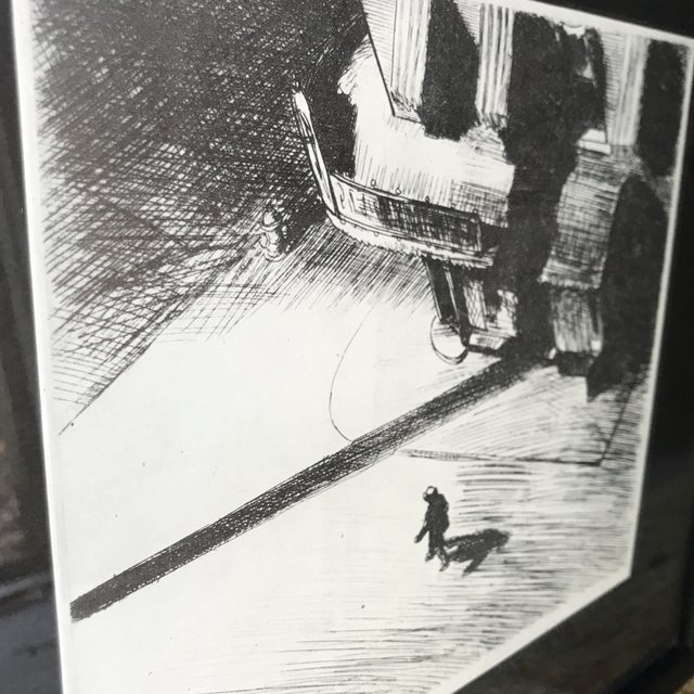 Man Walking Down Empty Street Etching For Sale - Image 4 of 5