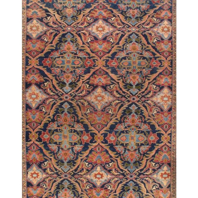 Original Persian Antique Malayer Lamb's Wool on a Cotton Foundation Hand-Spun Wool Rug Vegetable Dyed This rug has a...