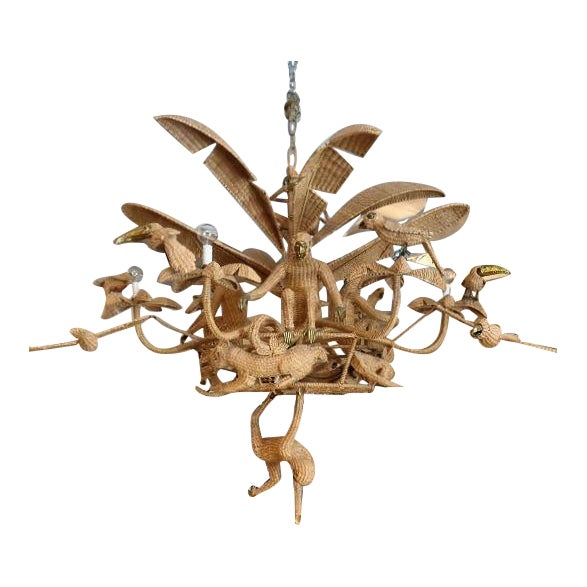 Mario lopez torres woven rattan palm tree chandelier chairish aloadofball Images