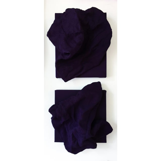"""""""Egyptian Violet Folds Pair"""" is a mixed media wall sculpture made with burlap and paint on linen. The elegant folds are..."""