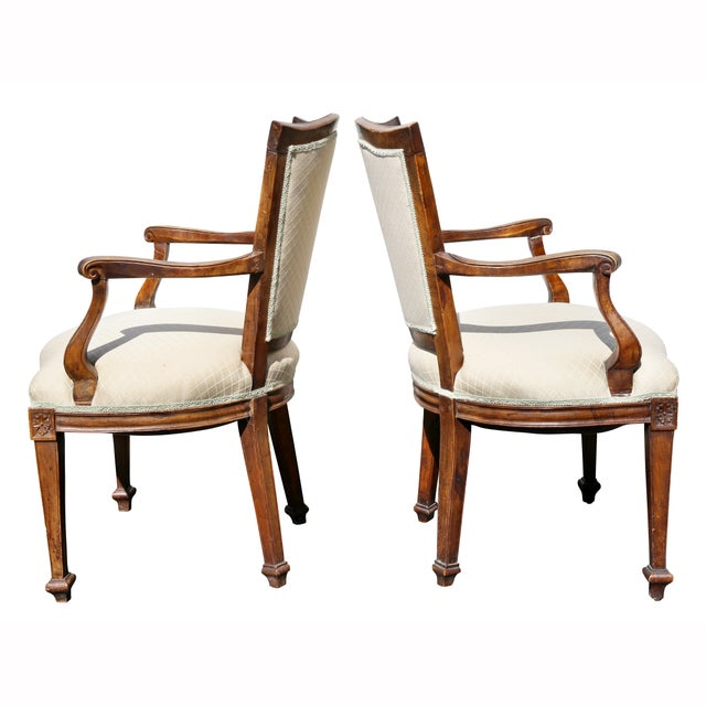Pair of Italian Neoclassic Walnut Armchairs For Sale - Image 11 of 13