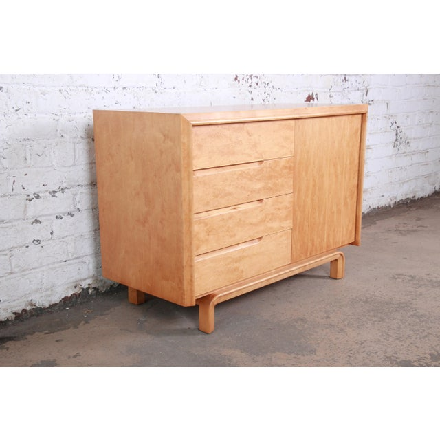 Mid-Century Modern Edmond Spence Swedish Modern Maple Sideboard Credenza, Newly Refinished For Sale - Image 3 of 13