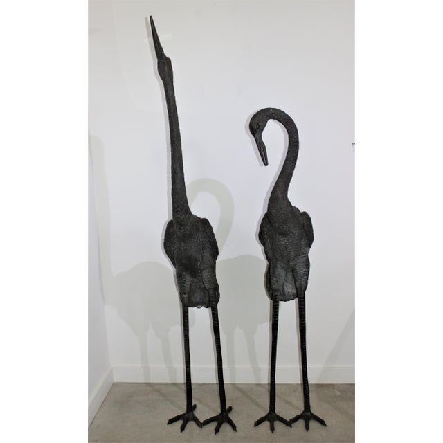 Bronze Crane Sculptures 6 Ft - a Pair For Sale In West Palm - Image 6 of 13