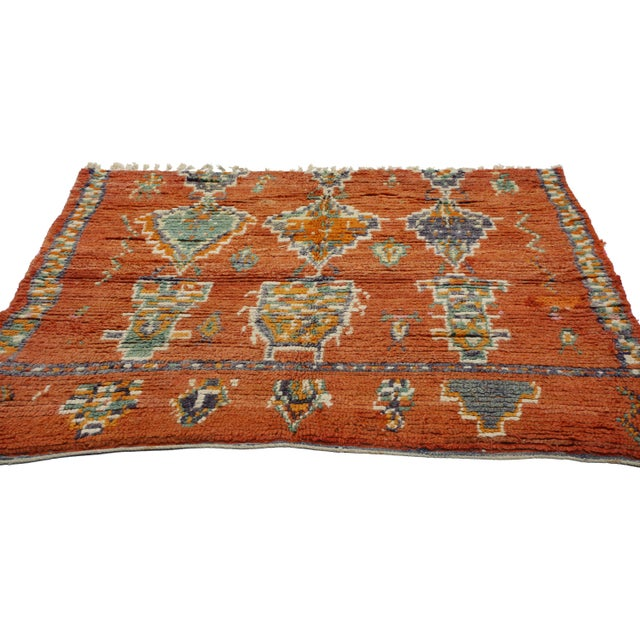 Islamic Vintage Berber Moroccan Rug - 04'11 X 05'04 For Sale - Image 3 of 5