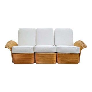Restored Art Deco Rattan Fan Arm Three-Seat Sofa, For Sale