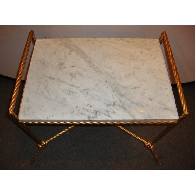Mid 20th Century Rectangular Marble Top Seat Bench With Metal Twist Base Adorning Florets For Sale - Image 5 of 7