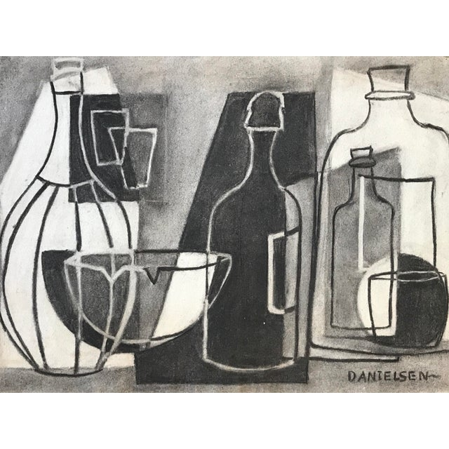 Gray 1930s Cubist Greyscale Still Life Student Drawing For Sale - Image 8 of 8
