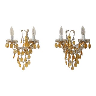 Elegant French Yellow Crystal Prisms Swags Sconces For Sale