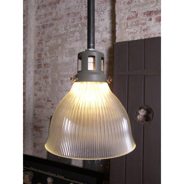 Industrial Fluted-Glass Holophane Pendant For Sale - Image 3 of 9