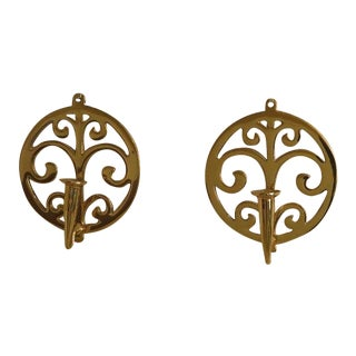 Virginia Metal Crafters Brass Candelabra Wall Sconces - a Pair For Sale