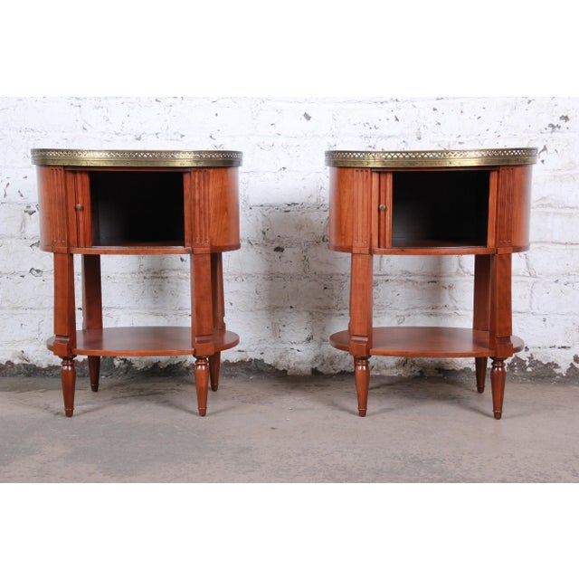 Baker Furniture French Regency Cherry and Brass Tambour Door Nightstands, Pair For Sale In South Bend - Image 6 of 13