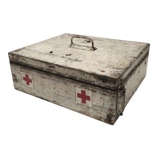 Vintage French Painted Wood First Aid Box For Sale