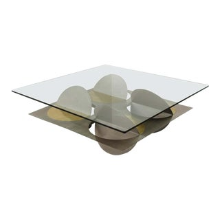 Modern Brass and Glass Coffee Table For Sale