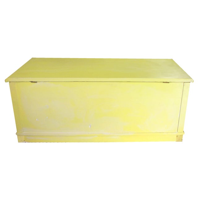 Metal Whitewashed Citron Painted Antique Red Cedar Chest by Gregory Furniture Mfg. For Sale - Image 7 of 8