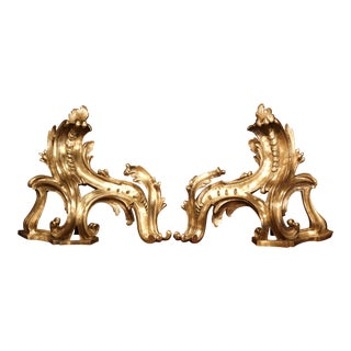 Pair of 19th Century French Louis XV Bronze Doré Chenets Andirons For Sale