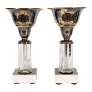 Pair of Art Deco Onyx, Marble, Bronze and Glass Uplights with Gilded Accents For Sale