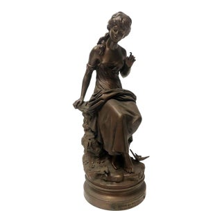 "Aug Moreau ""Retour Des Hirondelles"" Bronze Woman Statue With Appliqués"