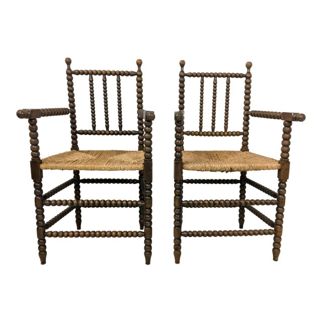 Pair of Antique French Oak Spool Chairs For Sale