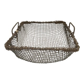 Vintage Hand Crafted Metal Wire Basket For Sale