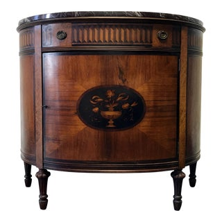 Inlaid Marquetry Marble Top Demilune Console Chest Cabinet by Johnson Handley Johnson