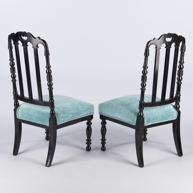 "Napoleon III Ebonized ""Chauffeuses"" Low Chairs - A Pair For Sale In Austin - Image 6 of 13"