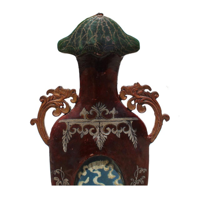Ceramic Chinese Vintage Vase Shape Lacquer Frame Porcelain Wood Wall Panels Art For Sale - Image 7 of 9
