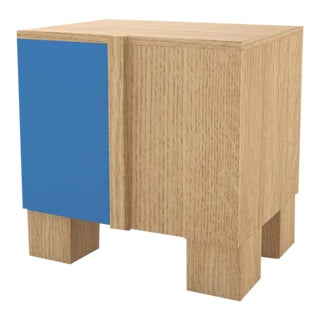 Contemporary 100 Bedside in Oak and Blue by Orphan Work, 2020 For Sale