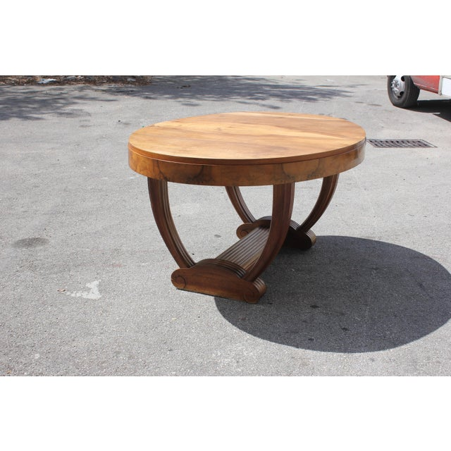 French Art Deco Solid Walnut Oval Dining Table ''U'' Legs Base Circa 1940s For Sale - Image 5 of 13
